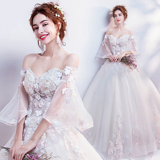 Strapless ball gown princess wedding dress with sleeves wholesale affordable wedding dress 0541 09 junglespirit Images