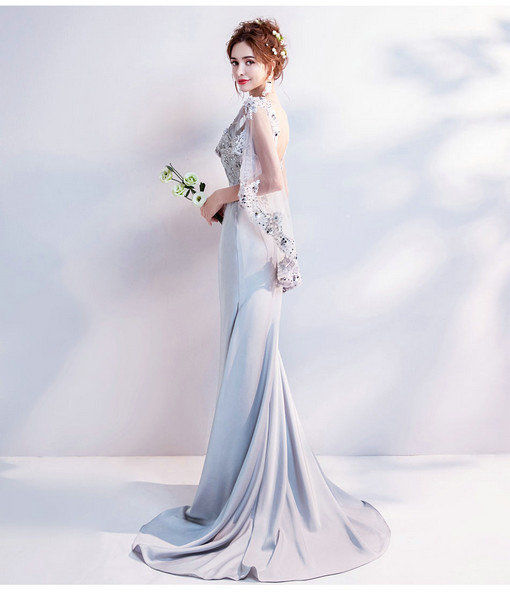 V Neck Mermaid Grey Evening Formal Dress With Train New Arrival