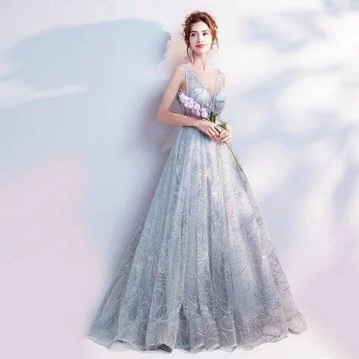 A Line Grey Prom Dress Plus Sizes V Neck Wholesale Under 100