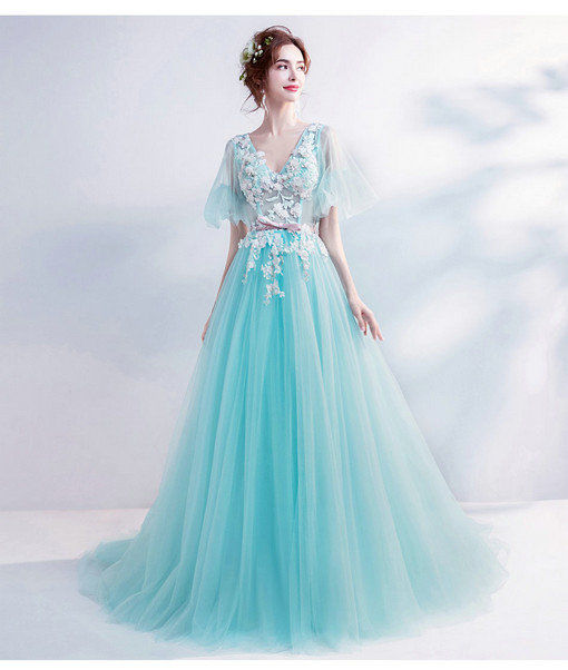 V Neck A Line Green Prom Party Dress 2018 New Arrival