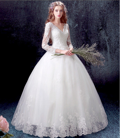 V Neck Ball Gown Wedding Dress Princess Long Sleeves