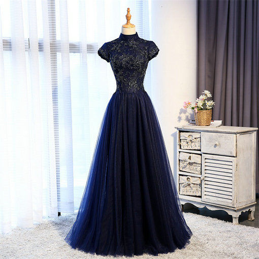 Aline Prom Dress Black Red Dark Blue and Gold four Colors