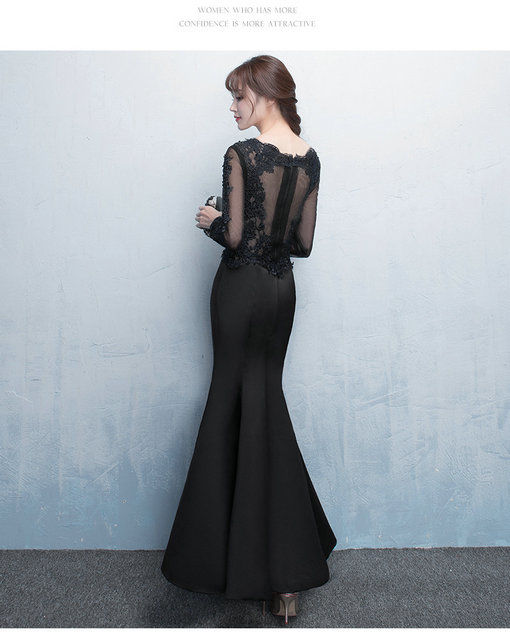 Black Prom Dress Mermaid Long Sleeve Evening Gown