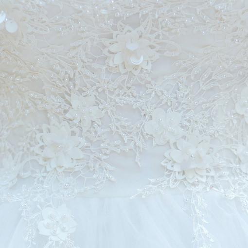 High Low Wedding Dress White Lace Princess Bridal Dress