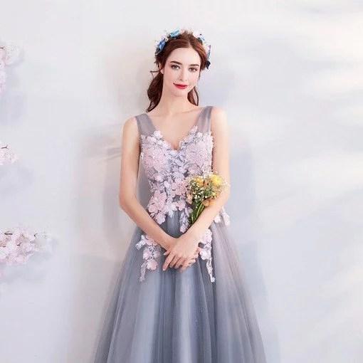 A Line Evening Dress Grey Long Prom Dress Wholesale