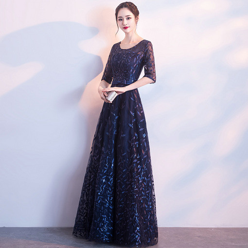 Dark Blue Prom Dress Middle Length Sleeve Evening Dress