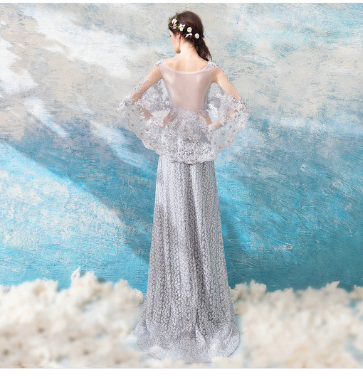 Prom Dress Lace Grey A Line Long Evening Party Dress