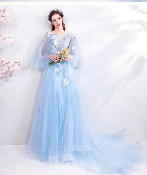 Prom Dress Train Light Blue A Line Evening Dress