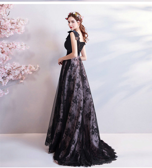 Black Evening Dress Plus Size V Neck Prom Dress Train