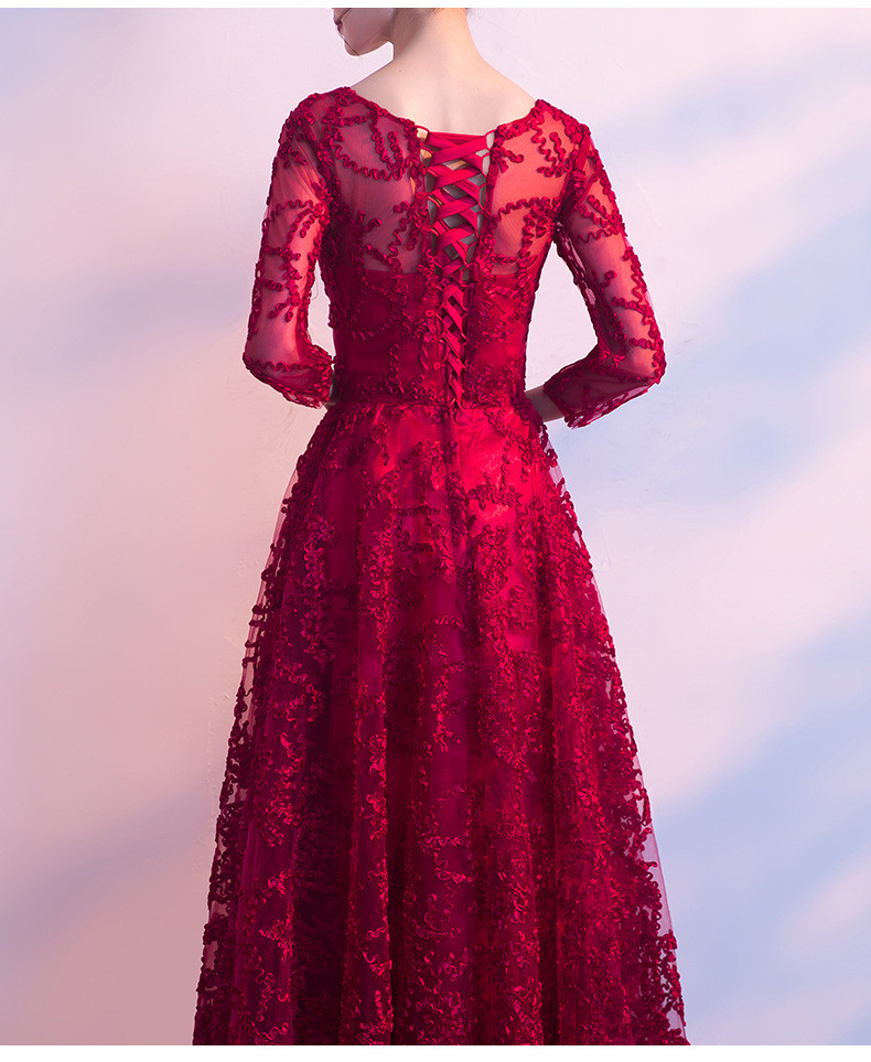 Red Party Dress A Line Evening Prom Dress Long Sleeves