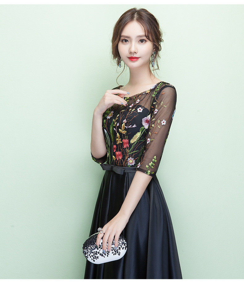 Tea Length Prom Dress Black Flower Cocktail Dress Sale