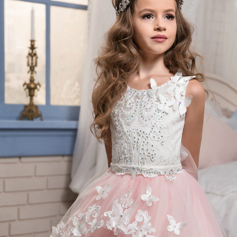 Toddler Bridesmaid Dresses Pink Lace Little Girls Dress Sale
