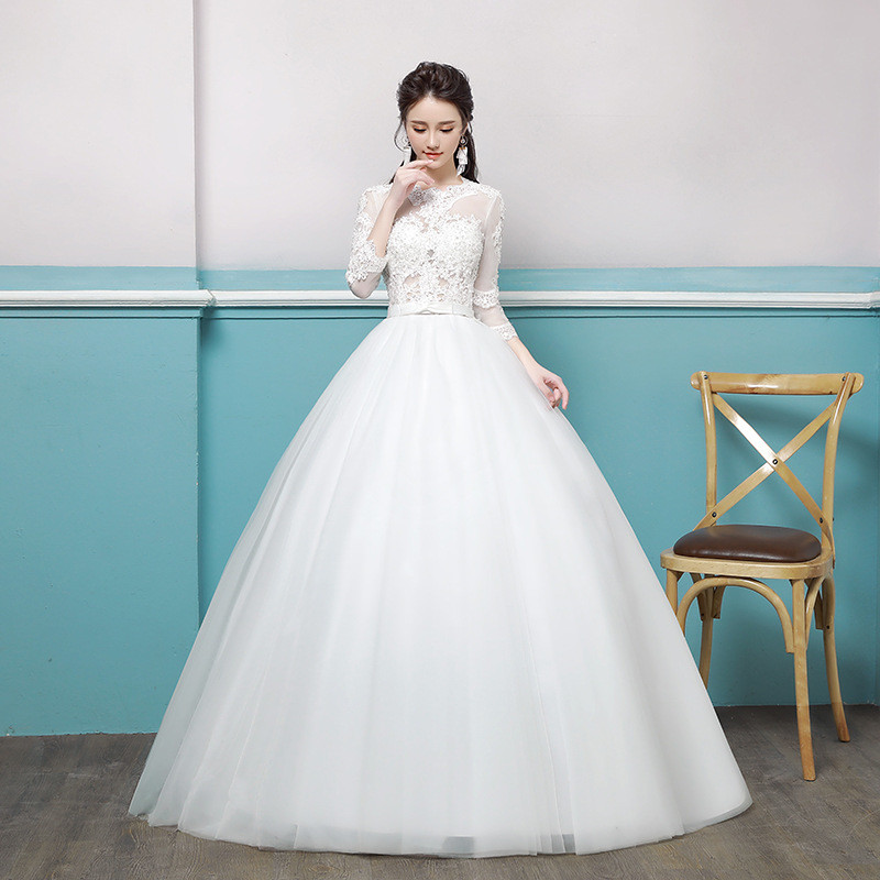 Wedding dress lace sleeves round collar ivory girls dress wedding dress lace sleeves 0689 07 junglespirit Image collections