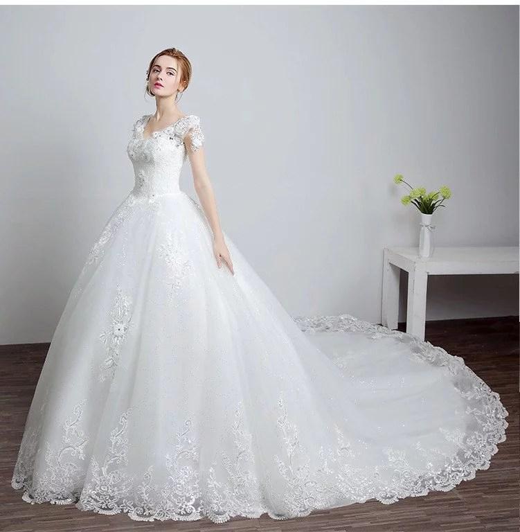 Wedding dress trains lace a line short sleeve bridal dress sale wedding dress trains 0691 01 junglespirit Images