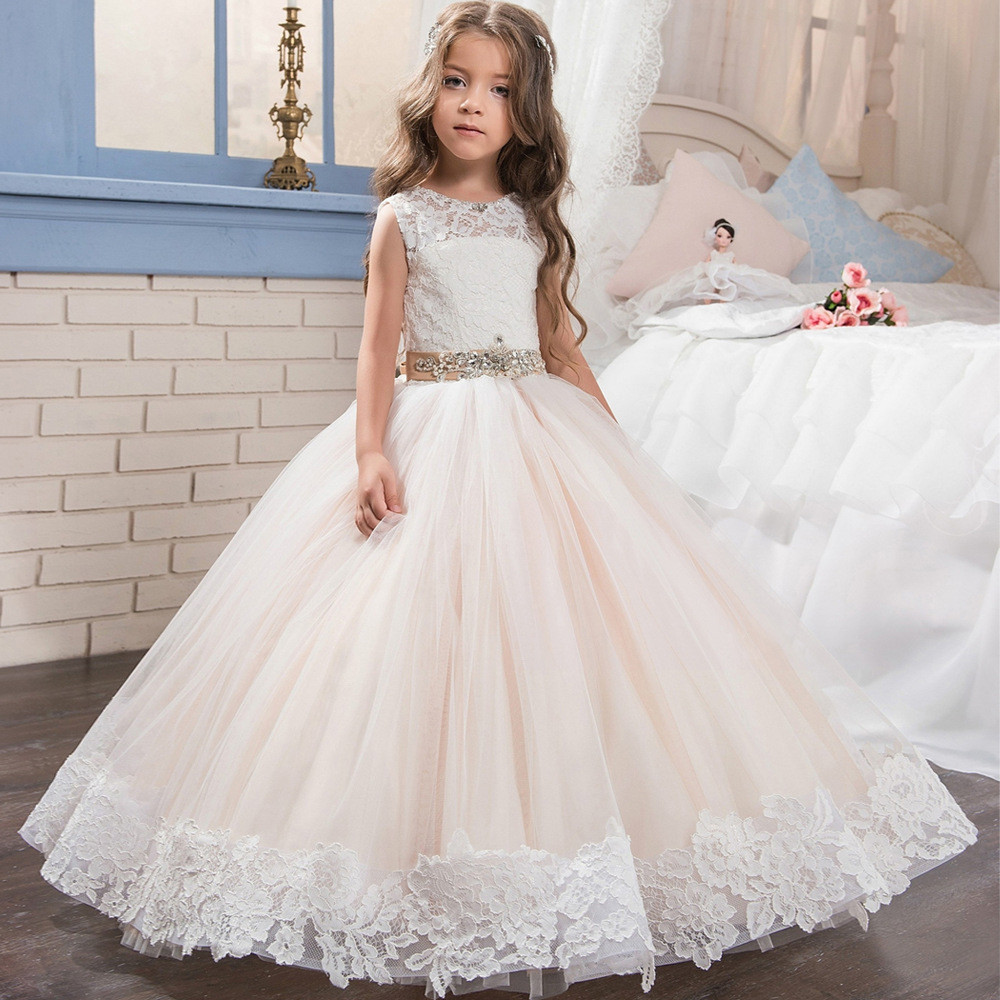 Blush Flower Girl Dresses Ball Gown White Lace Dress Sale