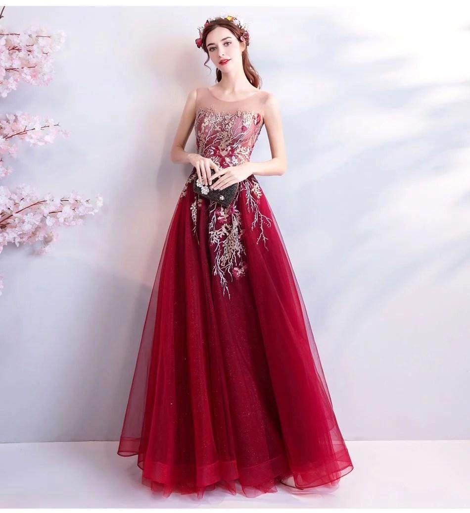 Burgundy Formal Dress A Line Long Prom Dress 2018