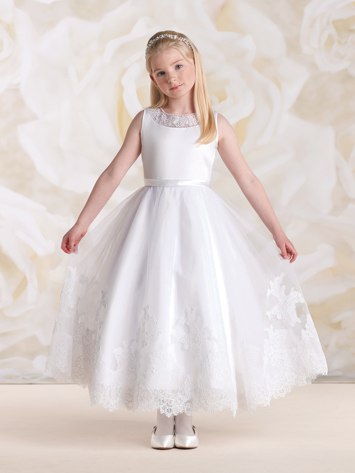 Ivory Flower Girl Dresses Lace A Line Girls Bridesmaid Dresses
