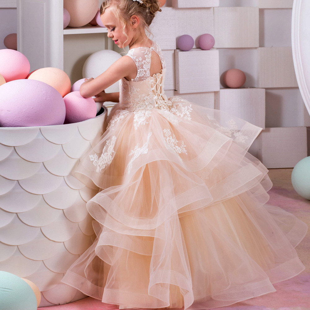 Tulle Flower Girl Dresses Blush Ball Gown Floor Length