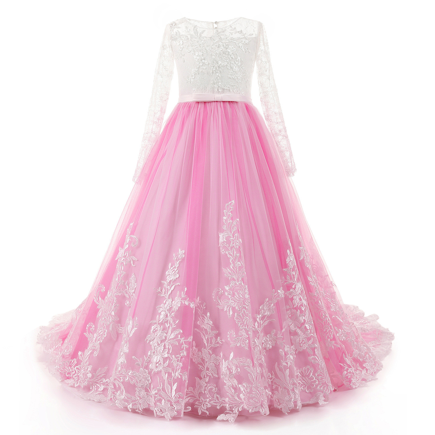 Wedding Flower Girl Dresses Pink Lace Long Sleeve