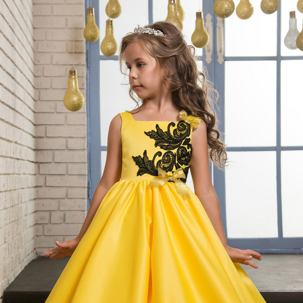 Yellow Flower Girl Dress Black Lace Sleeveless Little Girl
