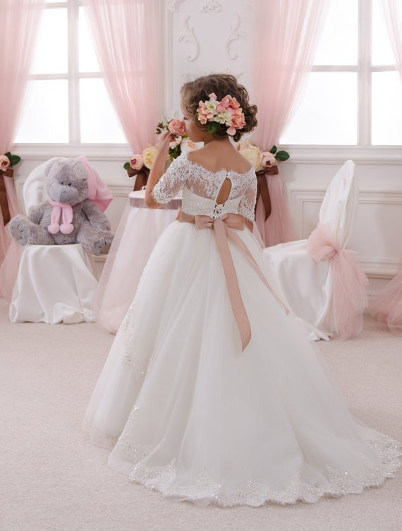 Cheap White Flower Girl Dresses Lace Ball Gown Off Shoulder