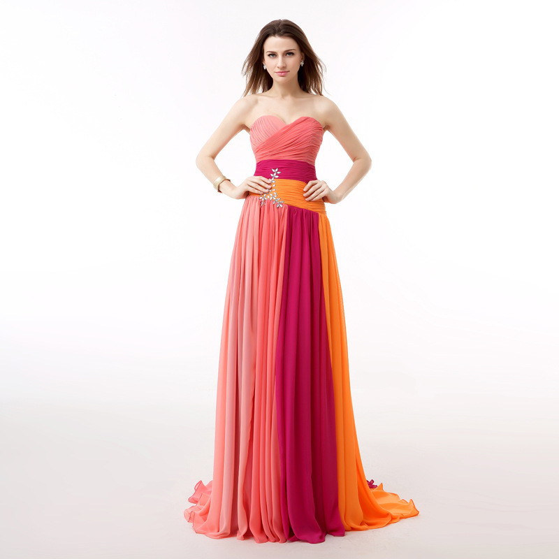 Chiffon Prom Dress Strapless Long Colors For Sale