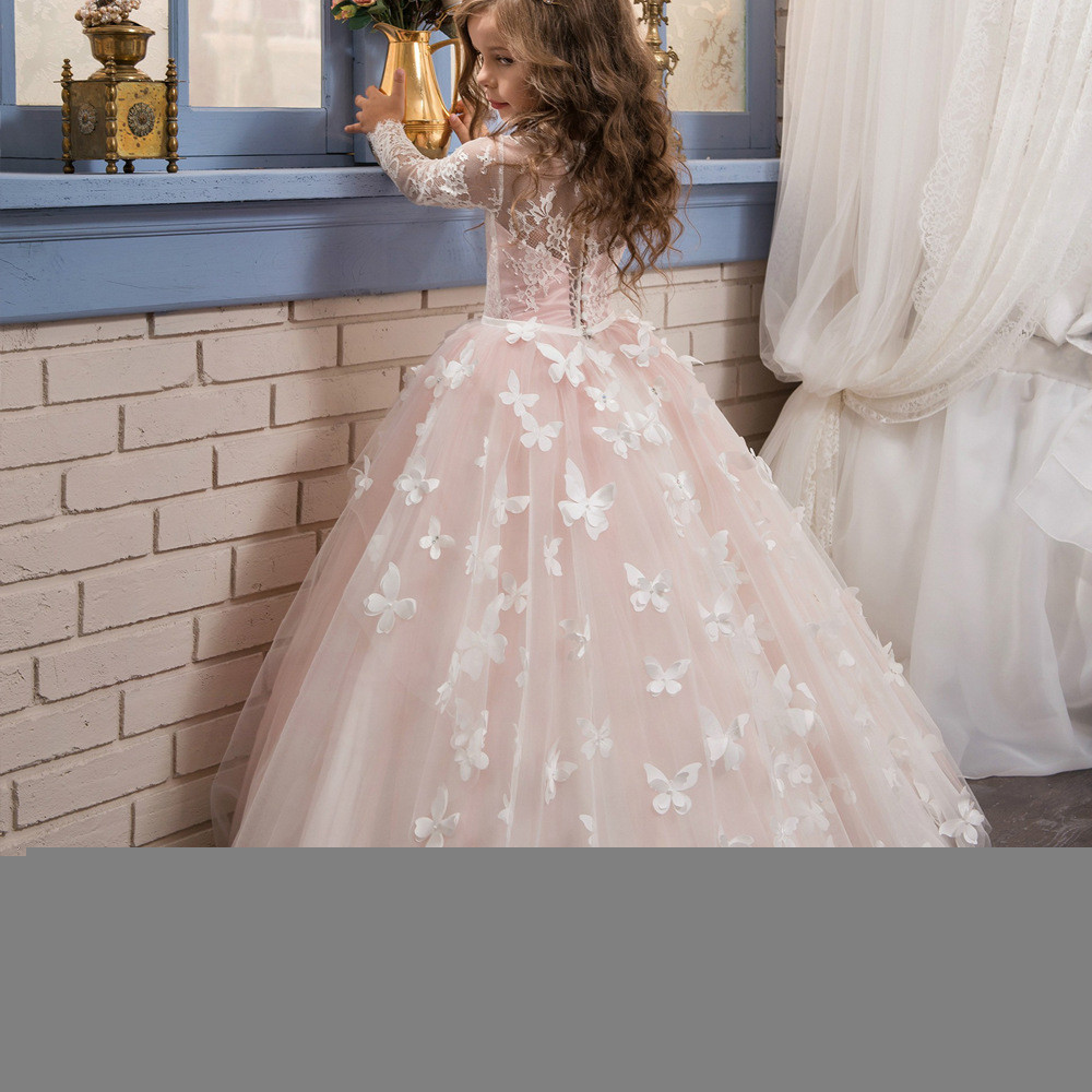 Flower Girl Dresses With Sleeves Light Pink Ball Gown Sale