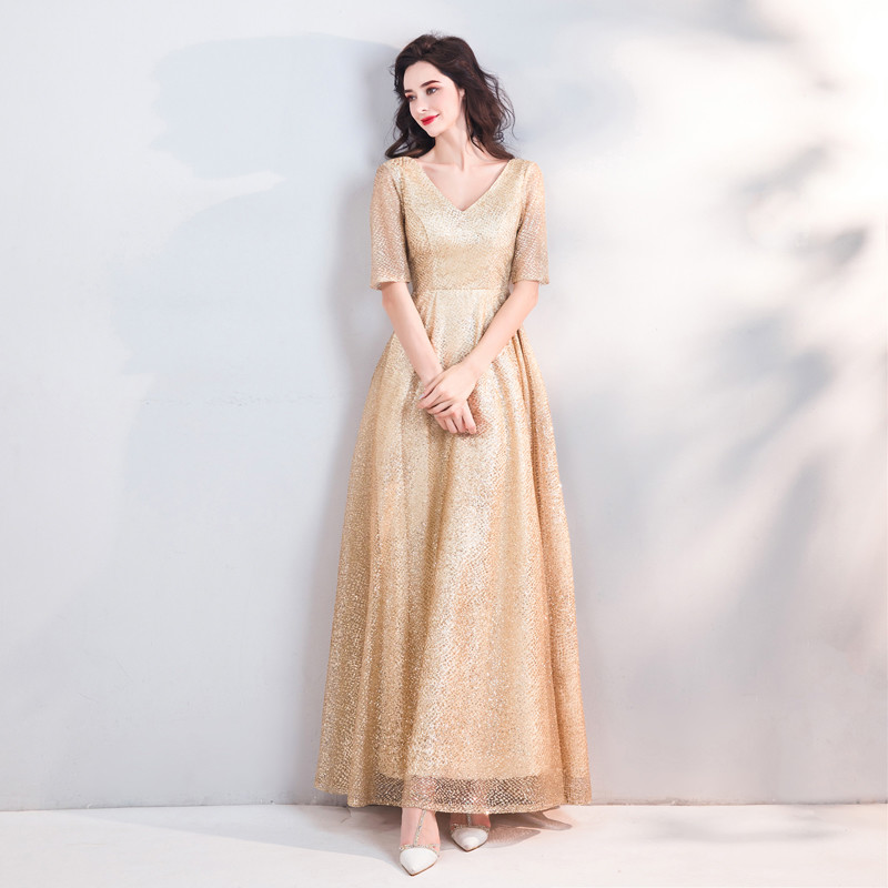 Gold Evening Gown V Neck A Line Paillette Floor Length