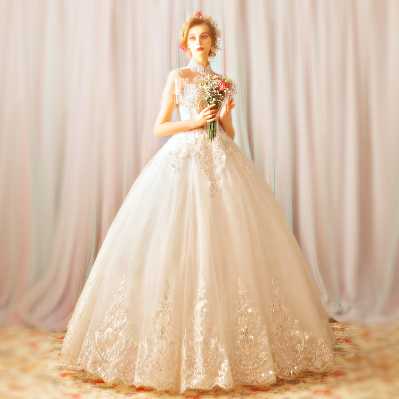Lace Wedding Dress High Neck Ball Gown Plus Size Sale