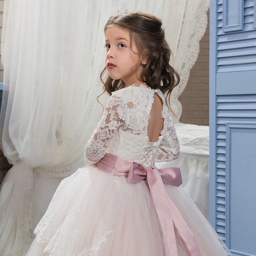Light Pink Flower Girl Dresses Lace Long Sleeve Little Girls Dress