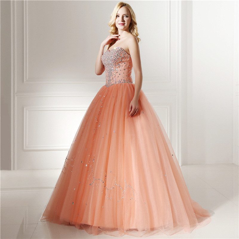 Orange Prom Dress Strapless Ball Gown Princess