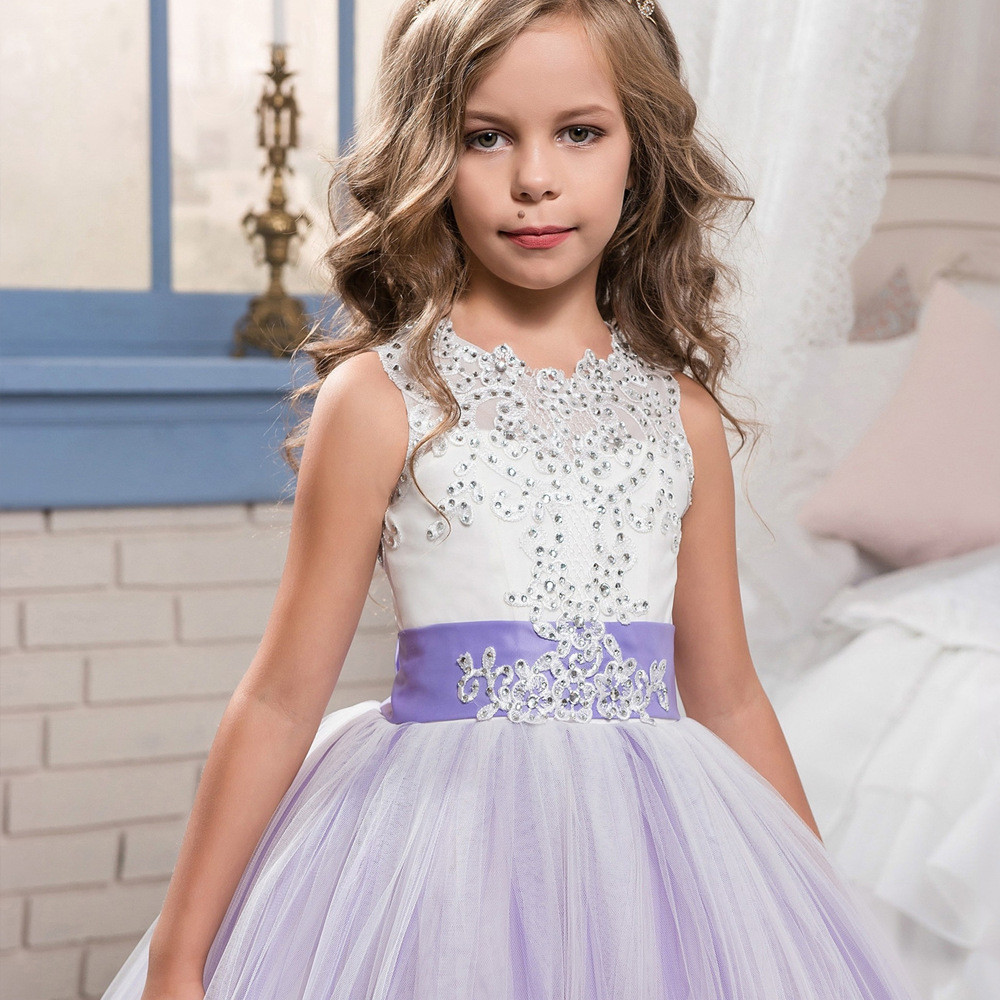 Purple and white flower girl dresses lace ball gown sale mightylinksfo