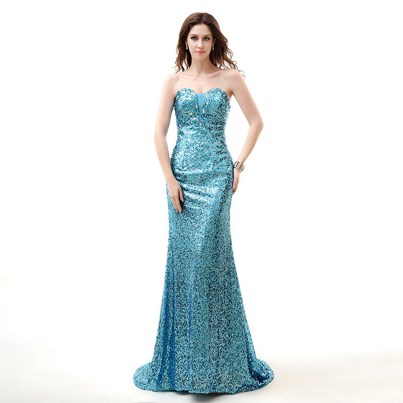 Strapless Formal Dress Mermaid Purple Blue Paillette