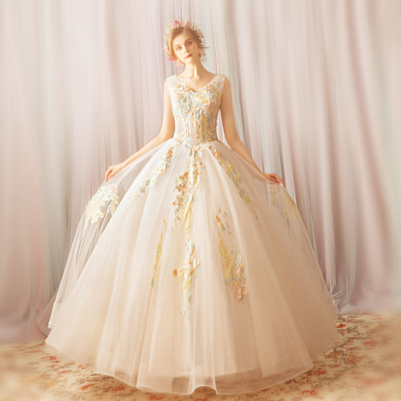 Wedding Dress Princess V Neck Ball Gown Plus Size Online