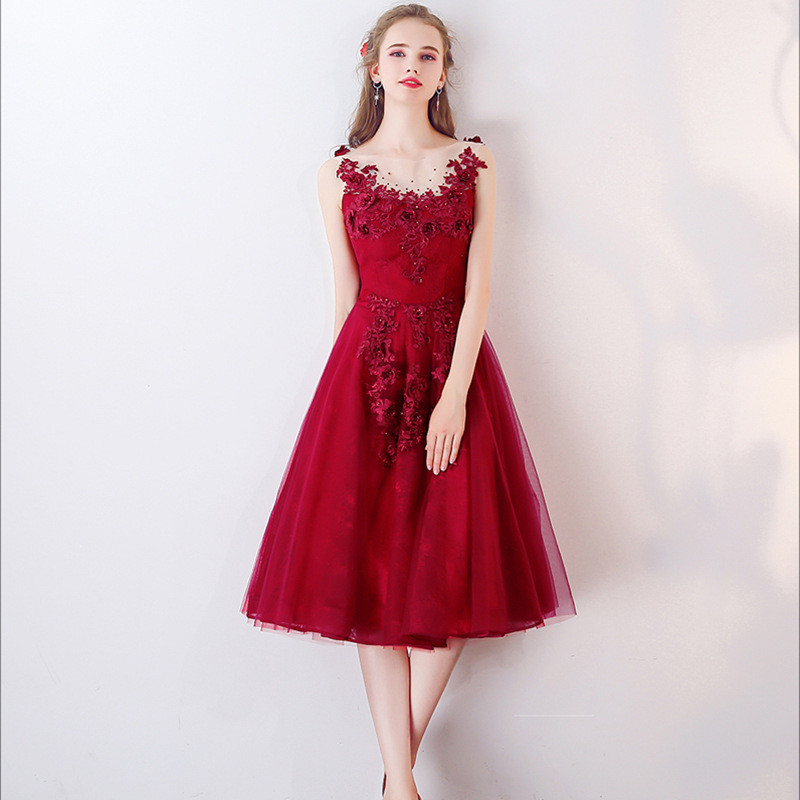 Knee Length Cocktail Dress Red Lace Short Prom Dress