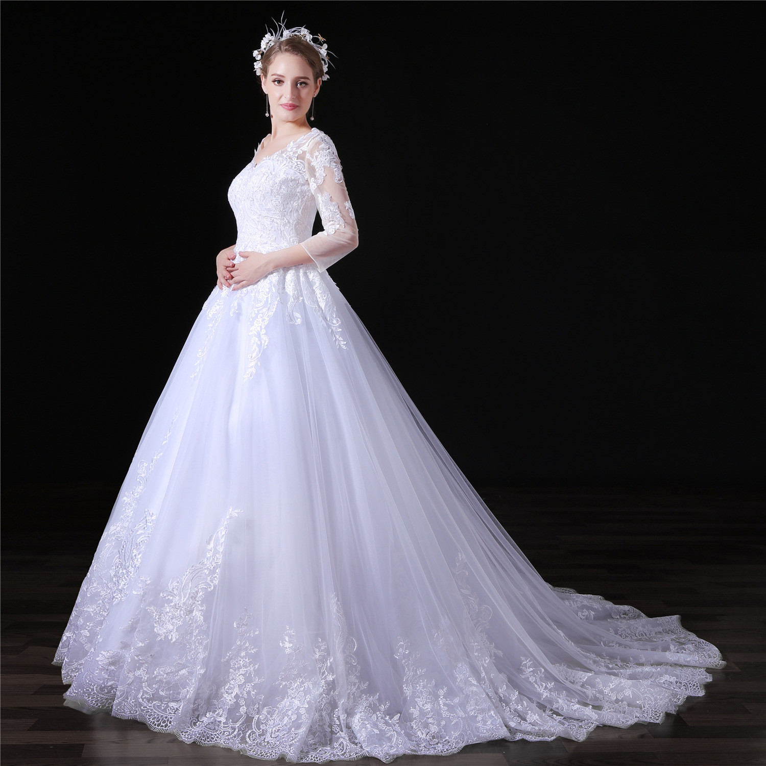 Lace Wedding Dress Plus Size A Line With Train Online For Sale