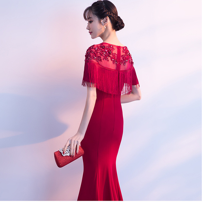 Mermaid Evening Gown Red Plus Size Prom Dress 2018