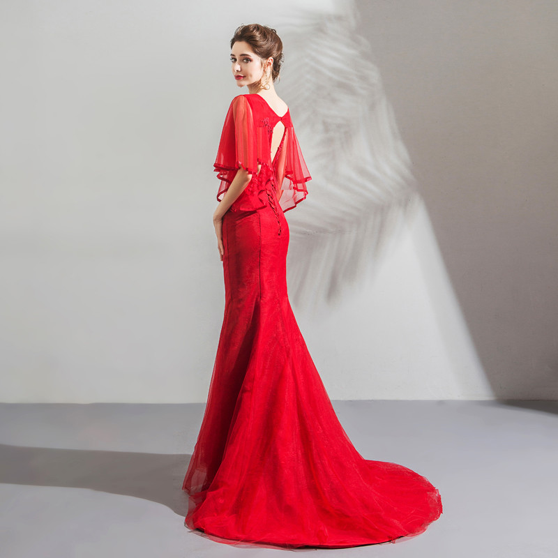 Red Mermaid Prom Dress Lace Evening Party Dress Wholesale