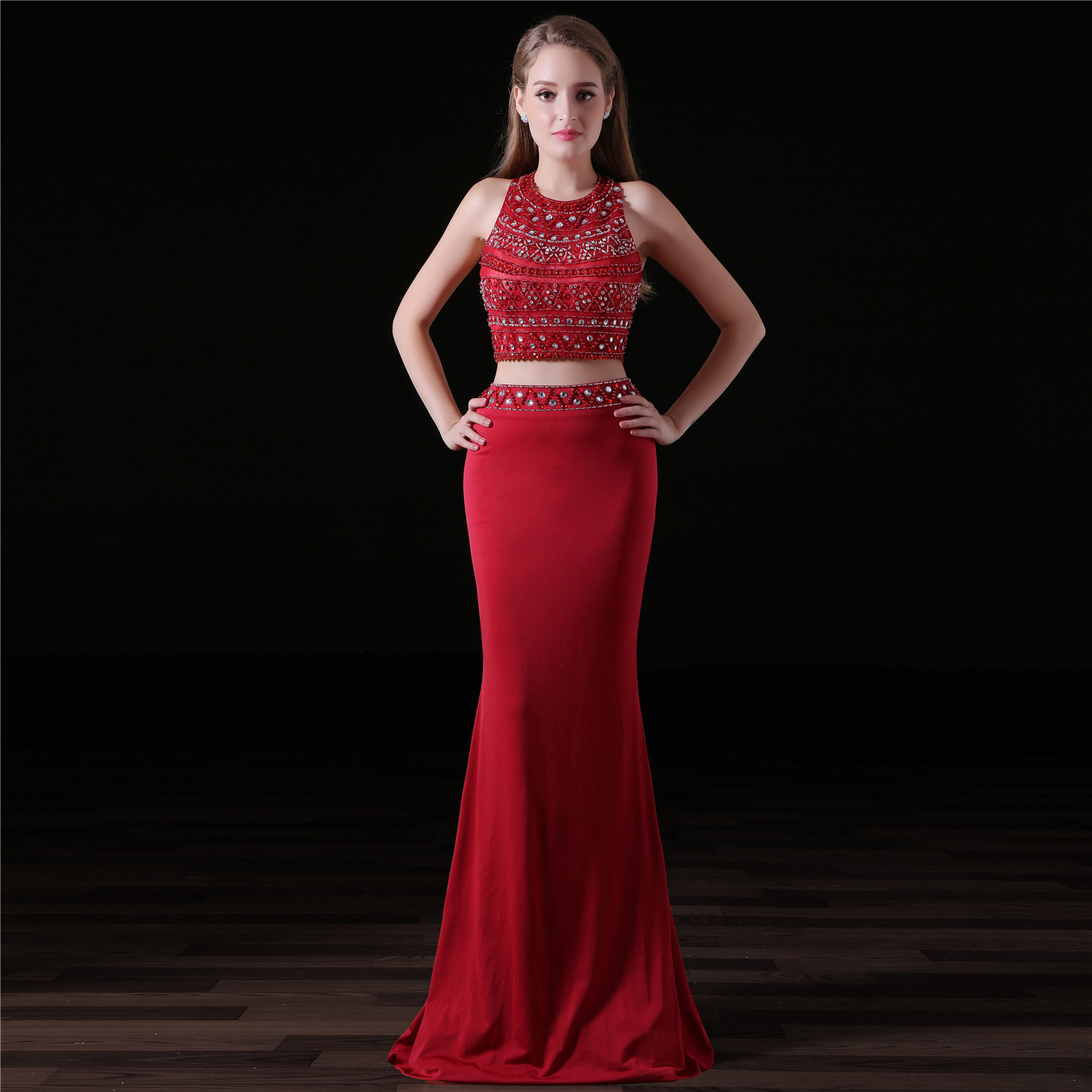 Red Two Piece Prom Dress Formal Mermaid Evening Dress