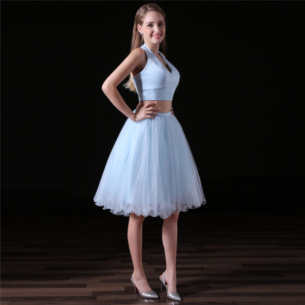 Short Two Piece Prom Dress Knee Length Homecoming Dress
