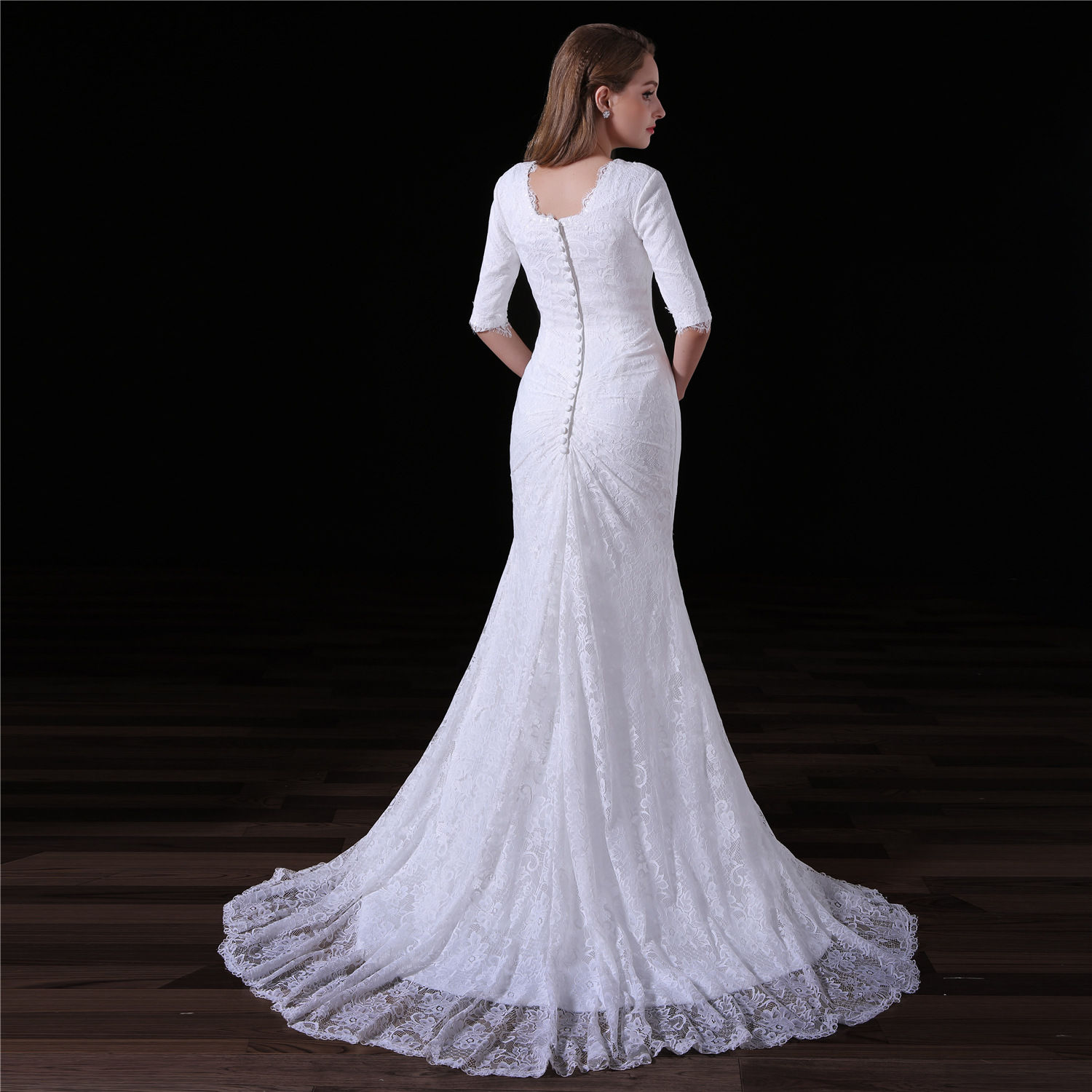 Simple Mermaid Wedding Dress Lace Bridal Gown With Train