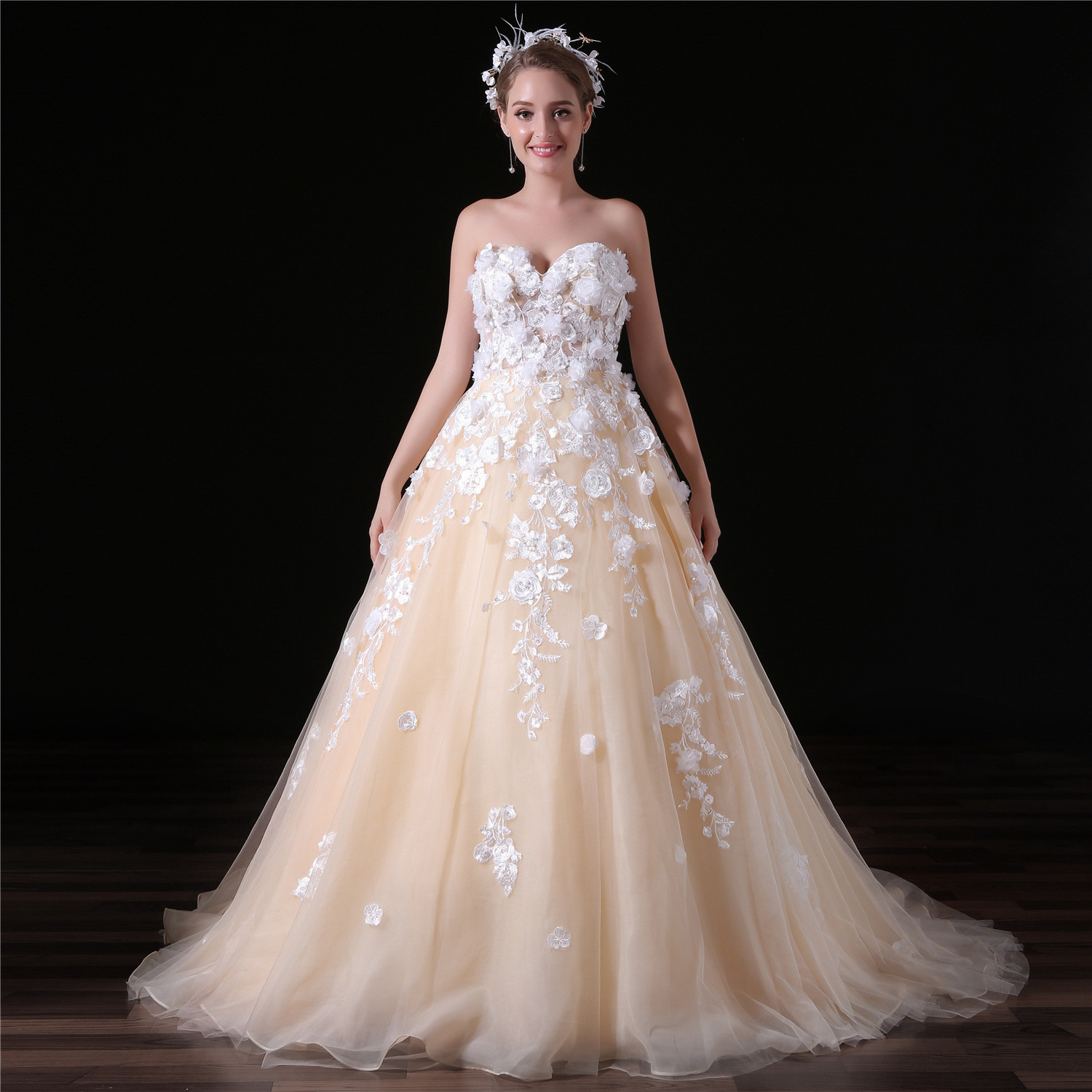 Wedding Dress With Flowers Strapless Champagne Bridal Dress