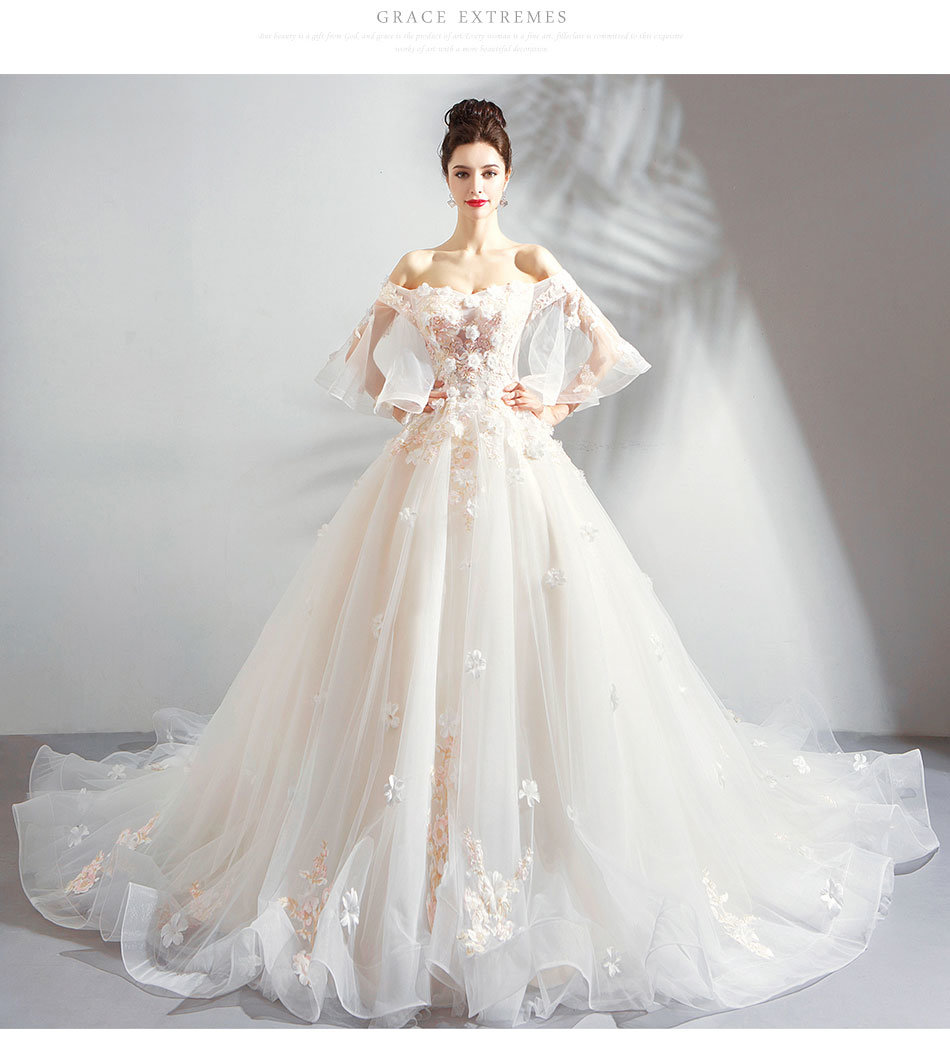 Long Train Wedding Dress Luxury Hand Made Off The Shoulder