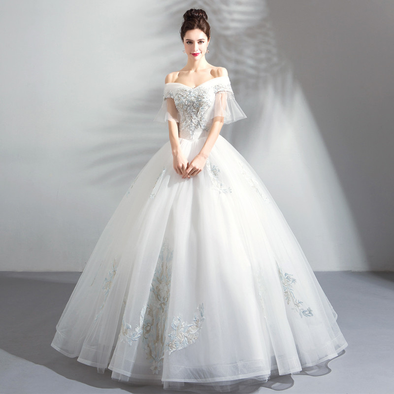 Princess Ball Gown Wedding Dress Luxury Crystal Bridal Dress
