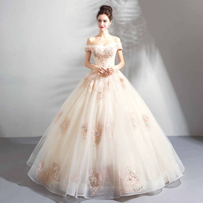 White And Champagne Wedding Dress Ball Gown Princess
