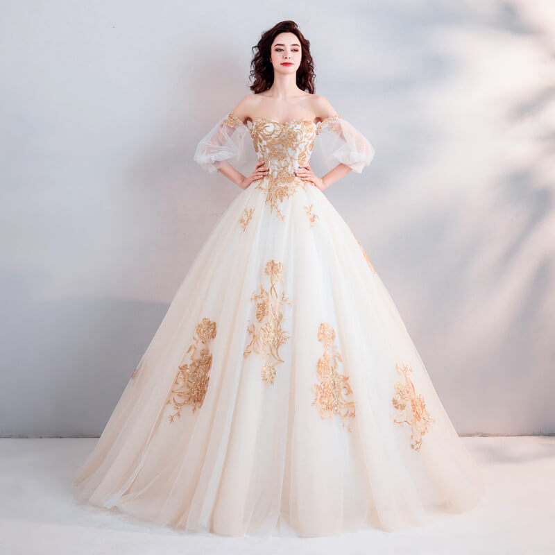 Two Color Wedding Dress Gold And White Bridal Dress