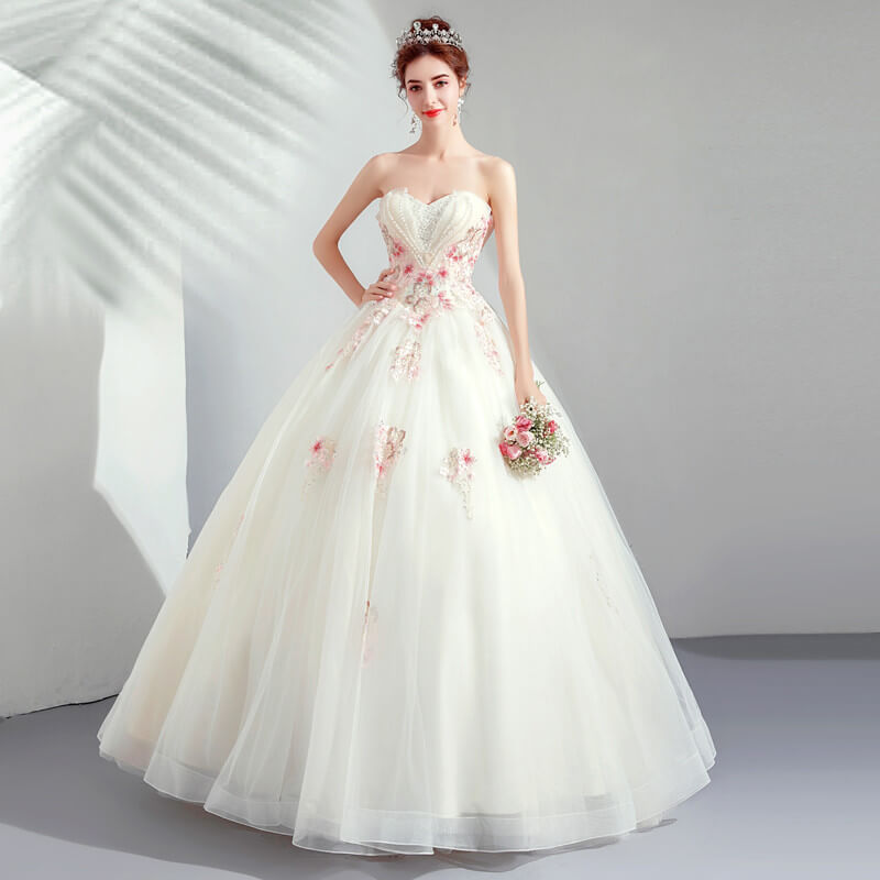 White Wedding Dress With Pink Strapless Ball Gown