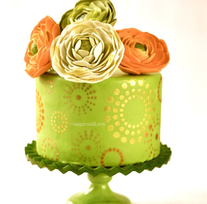 Gold Starbursts and Ranunculus Blogiversay Cake and Giveaway