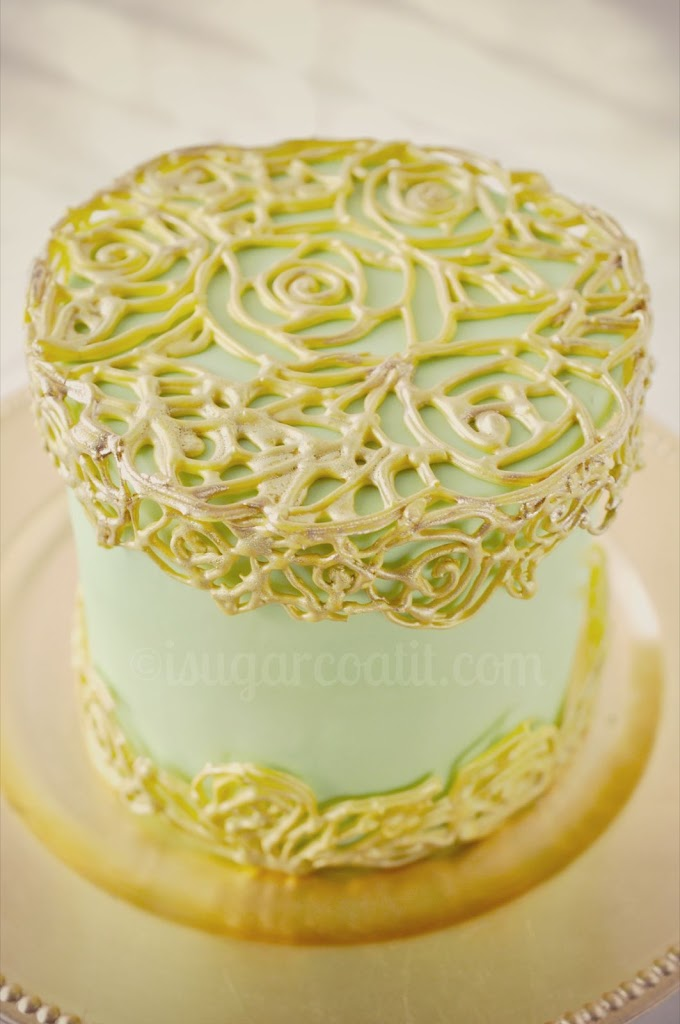 Piped Filigree Cage Cake