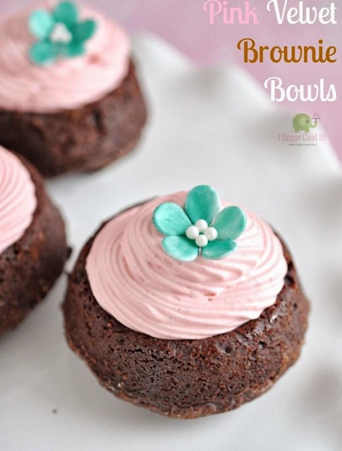 Pink Velvet Brownie Bowls